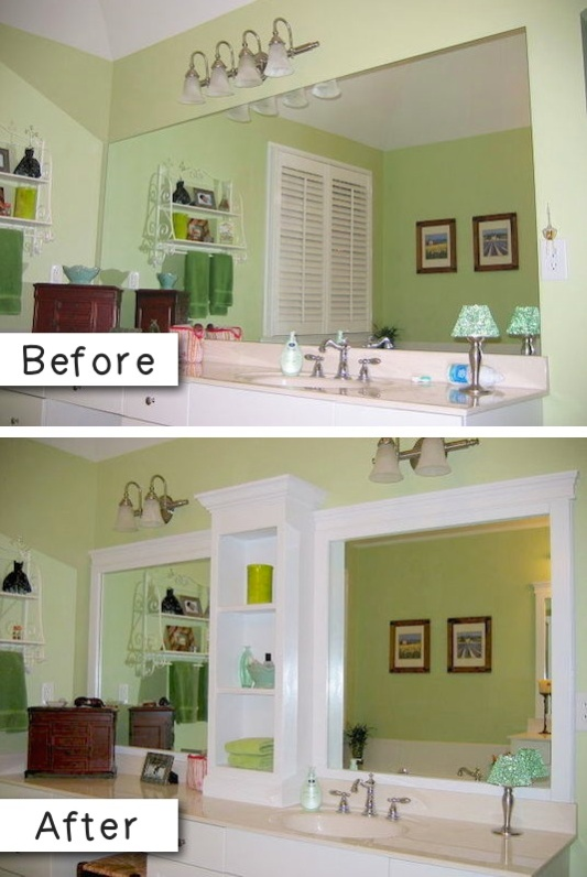3-add-molding-and-shelves-to-an-otherwise-boring-bathroom-mirror-27-easy-remodeling-projects-that-will-completely-transform-your-home-2